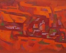 "Howard Norton Cook, ""New Mexico #10 - Ranchos de Taos, NM"", oil, c. 1960"