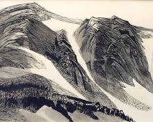 "Ethel Magafan, ""Remaining Snows (Colorado)"", ink, 1973"