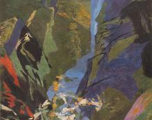 "Ethel Magafan, ""Cascade"", tempera, 1972"