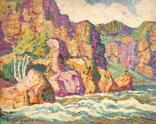 "Sven Birger Sandzen, ""In The Canyon, Big Thompson Canyon, Estes Park, Colorado"", oil, 1926"