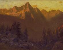 "Charles Partridge Adams, ""Sunset San Juan Range, Colorado"", oil, c. 1915"