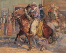 "Allen Tupper True, ""Untitled (Cowboys, Denver)"", oil, c. 1910"