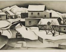 "Gene (Alice Geneva) Kloss, ""Taos In Winter"", etching, 1934"