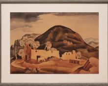 "Vance Hall Kirkland, ""Ruins of Golden Colorado"", watercolor, 1935"