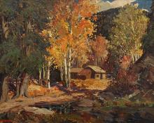 "Fremont Ellis, ""Autumn in Taos Canyon"", oil, c. 1930"