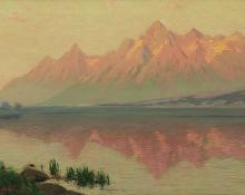 "Charles Partridge Adams, ""Teton Range - Wyoming - from Jackson Lake (Just after Sunrise)"", oil, c. 1910"