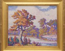 "Sven Birger Sandzen, ""Smoky River (Kansas)"", oil painting, 1926 - Sandzén framed"
