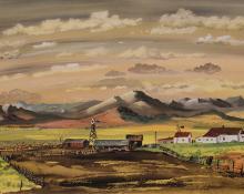 """Adolf Arthur Dehn, """"Ranch in South Park, Colorado"""", watercolor, 1946"""