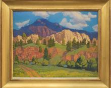 "Paul Kauvar Smith, ""Near Pine (Colorado)"", oil, c. 1940 denver artists guild mid century fine art oil painting"