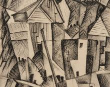 "Howard Behling Schleeter, ""Houses"", charcoal, 1943 painting for sale purchase auction consign denver colorado art gallery museum"