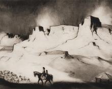 "Gene (Alice Geneva) Kloss, ""Buttes of Lukachukai, 28/35"", etching, 1977"