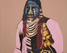 "Fritz Scholder, ""Dartmouth Portrait # 9"", oil, 1973 painting for sale art gallery"