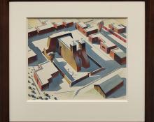 "Sandor Bernath, ""Rancho de Taos"", watercolor, circa 1930"