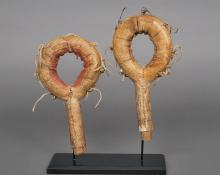 Pair of Plains Indian Rattles Cheyenne, circa 1880, native american antique 19th century for sale purchase consign sell auction art gallery museum denver colorado