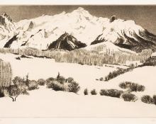 "Gene (Alice Geneva) Kloss, ""High in the Rockies; number 27 of an edition of 75"", etching, 1968"