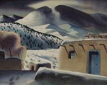 """Sandor Bernath, """"Untitled (Adobe Houses, New Mexico)"""", watercolor, circa  1930 painting for purchase sale consignment auction denver colorado art gallery museum"""
