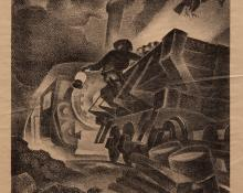 """Eric James Bransby, """"Gold Train (Artists Proof; edition of 2 prints)"""", lithograph, 1941 for sale purchase art gallery"""