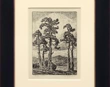 """Birger Sandzen, """"The Edge of the Forest; edition of 50"""", lithograph, 1919 for sale purchase consign auction denver Colorado art gallery museum"""