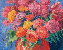 "Sven Birger Sandzen, ""Still Life, Zinnias & Chinese Wool Flowers"", oil painting, 1919"
