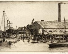 """Franklin Townsend Morgan, """"Cedar Box Mill, Key West; Number 15 in an edition of 50"""", etching, circa 1935 painting for purchase sale consignment auction denver colorado art gallery museum"""