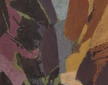 "Ethel Magafan, ""Remote Canyon (Colorado)"", oil, 1968 abstract mid century painting for sale art gallery auction woodstock"