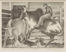 "Ethel Magafan, ""Riding the Brahmas, #64/70"", lithograph, 1938 print for sale purchase auction art gallery"