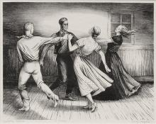 "Jenne Magafan, ""Country Dance (Cowboy Dance);  edition of 15"", lithograph, 1938"