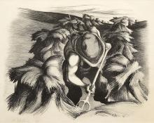 """Bernard Joseph Steffen, """"Untitled (Baling Hay)"""", lithograph, 1937 art gallery for sale purchase auction"""