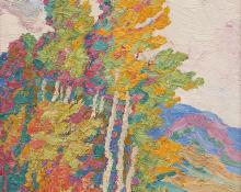 "Sven Birger Sandzen, ""Aspens, Logan Canyon, Utah"", oil, 1927 painting for sale auction"