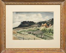 """Adolf Arthur Dehn, """"The Garden of the Gods (Colorado)"""", watercolor, 1939 for sale purchase consign auction denver Colorado art gallery museum"""