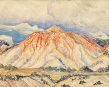"Ina Annette, ""Rock Candy Mountain, Utah"", watercolor, 1931 painting"