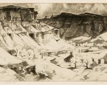 "Gene (Alice Geneva) Kloss, ""Gunnison River Cliffs; 24/75"", etching, 1967"
