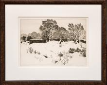 """Gene (Alice Geneva) Kloss, """"Adobes in the Snow (New Mexico); edition of 75"""", etching, 1944 for sale purchase consign auction denver Colorado art gallery museum"""