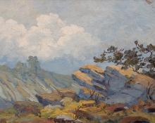 "Maude Leach, ""Untitled (Midday Landscape)"", oil, circa 1915"