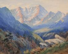"Maude Leach, ""Arapahoe Peaks (Colorado)"", watercolor, circa 1910"