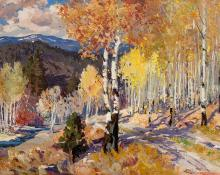 "Fremont Ellis, ""Autumn Aspen - Santa Fe Canyon (New Mexico)"", oil, circa 1928"