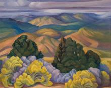 """Anna Elizabeth Keener, """"Chamisa and Asters No. 107 (New Mexico)"""", oil, circa 1965"""