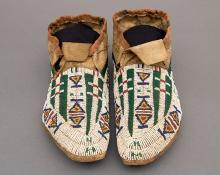 Antique beaded Moccasins, Cheyenne, circa 1890 plains indian native american for sale purchase consign sell auction art gallery museum denver colorado