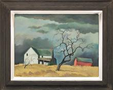 "William Sanderson, ""Red Barn and Tree (Colorado)"", oil, circa 1970 fine art for sale purchase buy sell auction consign denver colorado art gallery museum"