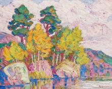 """Sven Birger Sandzen, """"Silent Lake, Rocky Mountain National Park, Colorado"""", oil, 1928"""