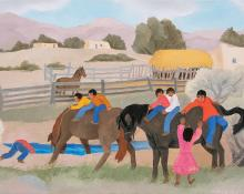 "Barbara Latham, ""Acequia Madre"", oil, circa 1960, painting for sale purchase consign auction denver Colorado art gallery museum"