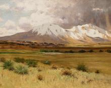 "Charles Partridge Adams, ""Spanish Peaks, Colorado"", oil, circa 1900 Native American Indian antique vintage art for sale purchase   auction consign denver colorado art gallery museum"