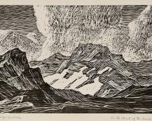 """Birger Sandzen, """"In the Heart of the Rockies (South Arapaho Peak near Boulder, Colorado)"""", woodcut, 1916 painting for sale purchase auction consign denver colorado art gallery museum"""