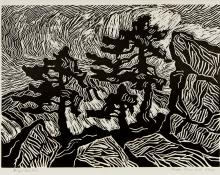 """Birger Sandzen, """"Rocks, Snow and Pines (Rocky Mountain National Park, Colorado)"""", woodcut, 1921 painting for sale purchase auction consign denver colorado art gallery museum"""