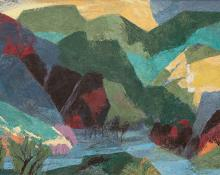 "Ethel Magafan, ""River at Evening (Colorado)"", tempera, landscape painting for sale purchase consign auction denver Colorado art gallery museum"