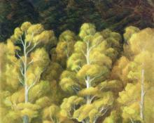 """Anna Elizabeth Keener, """"Aspen and Spruce"""", oil  painting for sale purchase consign auction art gallery denver colorado historical sandzen student"""