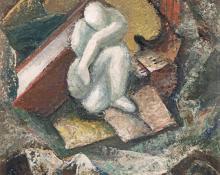"Anna Elizabeth Keener, ""Status Quo"", gouache, circa 1950s painting for sale purchase consign auction art gallery denver colorado historical sandzen student"