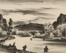 """Adolf Arthur Dehn, """"Fishing in Colorado"""", lithograph, 1944 painting for sale purchase auction consign denver colorado art gallery museum"""