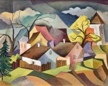 "William Sanderson, ""Untitled (Colorado Town)"", oil, circa 1950 painting fine art for sale purchase buy sell auction consign denver colorado art gallery museum"