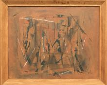 "Charles Ragland Bunnell, ""Untitled (Abstract Expressionist Composition)"", oil, 1954, for sale purchase consign auction denver Colorado art gallery museum"